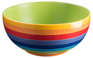Rainbow Stripe Ceramic Salad Bowl