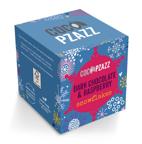 Coco Pzazz Dark Chocolate & Raspberry Snowflakes 96g