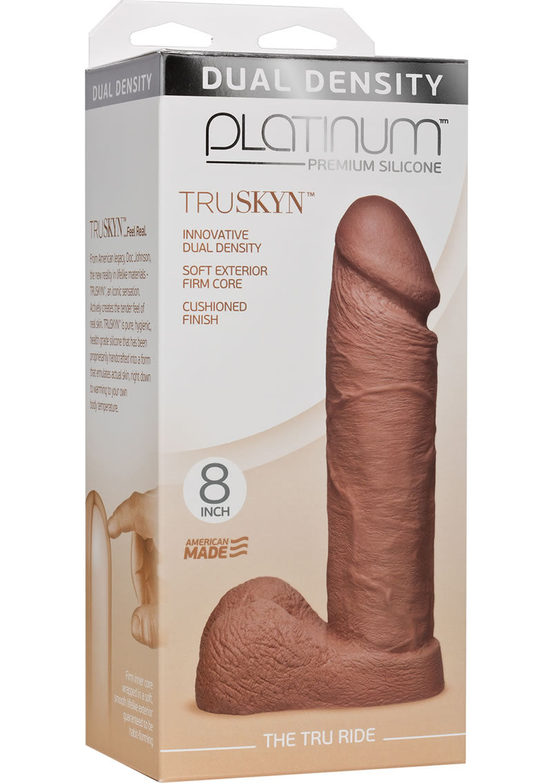 Platinum Premium Silicone The Tru Ride Dildo 8in - Caramel