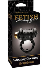 Load image into Gallery viewer, Fetish Fantasy Gold Vibrating Cock Ring Black 1.25 Inch Diameter
