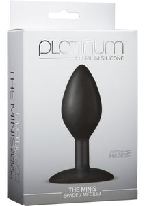 Platinum Premium Silicone - The Minis - Spade - Medium Anal Plug - Black