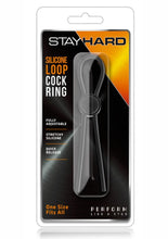 Load image into Gallery viewer, Stay Hard Silicone Loop Cock Ring - Black