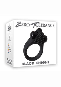 Zero Tolerance Black Knight Silicone Vibrating Textured Cockring - Black