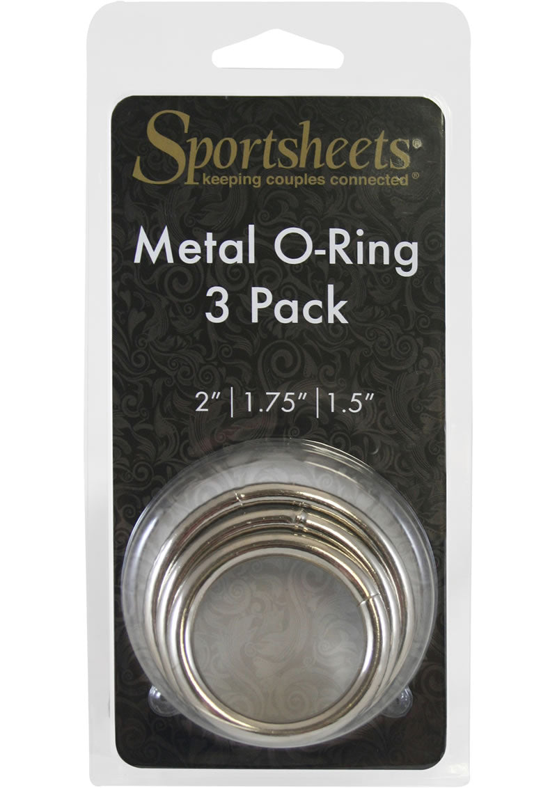 Sportsheets Metal O Ring Cock Ring (3 Pack) - Silver