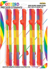 Load image into Gallery viewer, Rainbow Pecker Straws 10 Each Per Pack