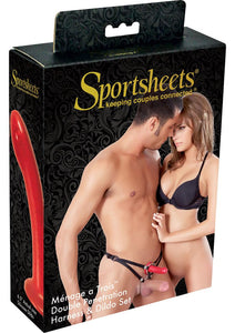 Sportsheets Menage A Trois Double Penetration Harness and Dildo Set - Black