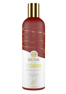 Dona Recharge Vegan Massage Oil Lemongrass and Ginger 4oz