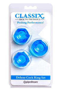 Classix Deluxe Cock Ring Set (2 Piece Kit) - Blue