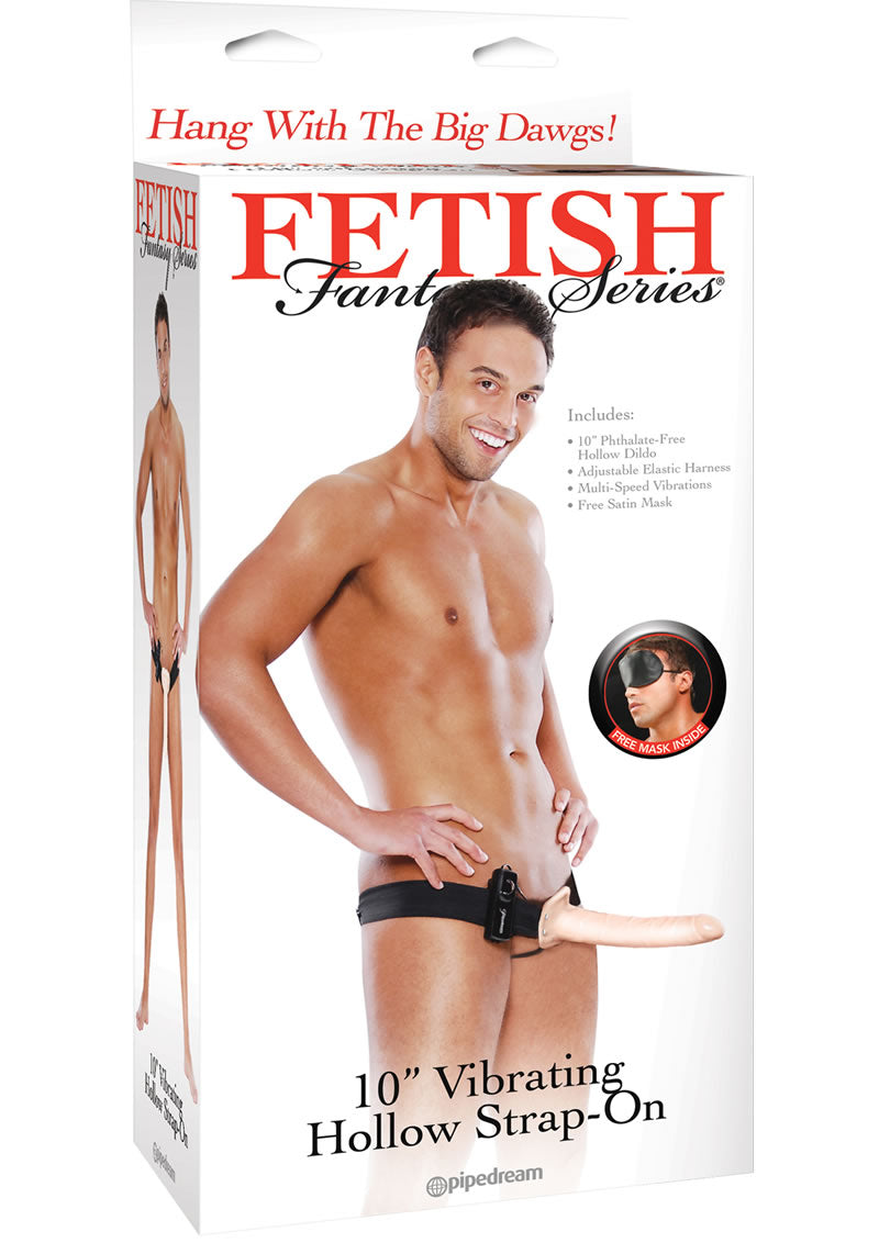 Fetish Fantasy Series Vibrating Hollow Strap On Flesh 10 Inch