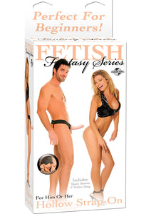 Fetish Fantasy Series For Him Or Her Hollow Strap-On Dildo And Adjustable Harness 6in - Vanilla
