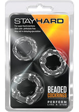 Load image into Gallery viewer, Stay Hard Beaded Cock Rings (3 Sizes) - Clear
