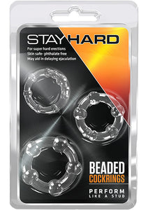 Stay Hard Beaded Cock Rings (3 Sizes) - Clear