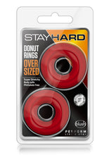 Load image into Gallery viewer, Stay Hard Donut Cock Rings Oversized (2 Pack )- Red