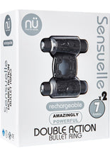 Load image into Gallery viewer, Nu Sensuelle Double Action Bullet Ring Rechargeable Vibrating Cock Ring - Black