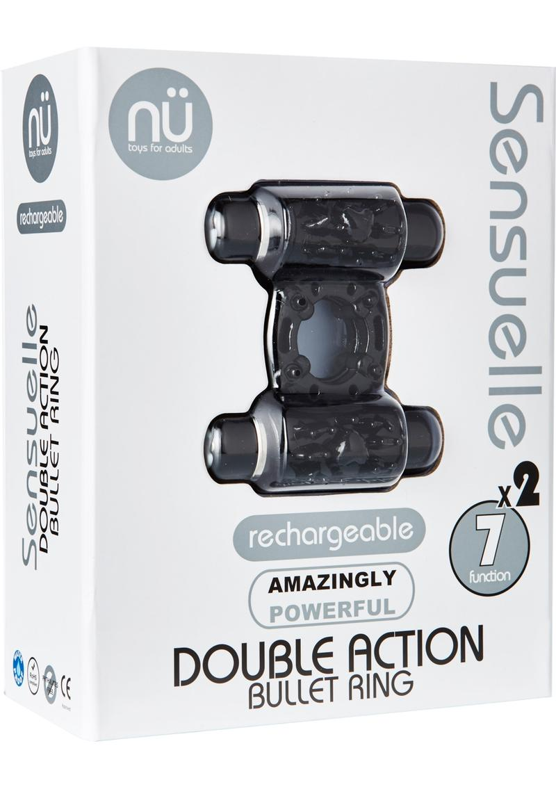 Nu Sensuelle Double Action Bullet Ring Rechargeable Vibrating Cock Ring - Black