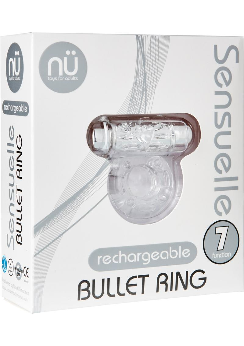 Nu Sensuelle Bullet Ring Rechargeable Vibrating Cock Ring - Clear