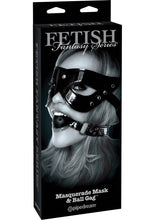 Load image into Gallery viewer, Fetish Fantasy Series Limited Edition Masquerade Mask and Ball Gag Set Black