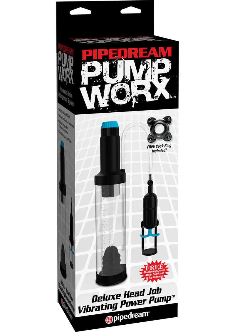 Pump Worx Deluxe Head Job Vibrating Power Penis Pump - Clear And Black
