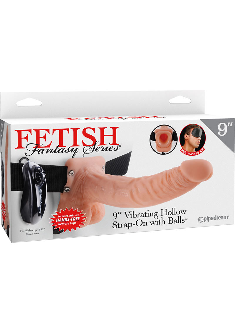 Fetish Fantasy Series Vibrating Hollow Strap-On Dildo With Balls And Harness With Remote Control 9in - Vanilla