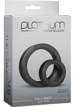 Load image into Gallery viewer, Platinum Premium Silicone The Cock Rings Dual Pack (2 Piece Kit) - Charcoal