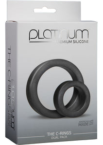 Platinum Premium Silicone The Cock Rings Dual Pack (2 Piece Kit) - Charcoal