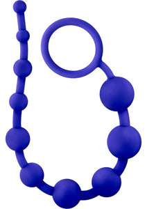 Luxe Silicone 10 Anal Beads - Indigo