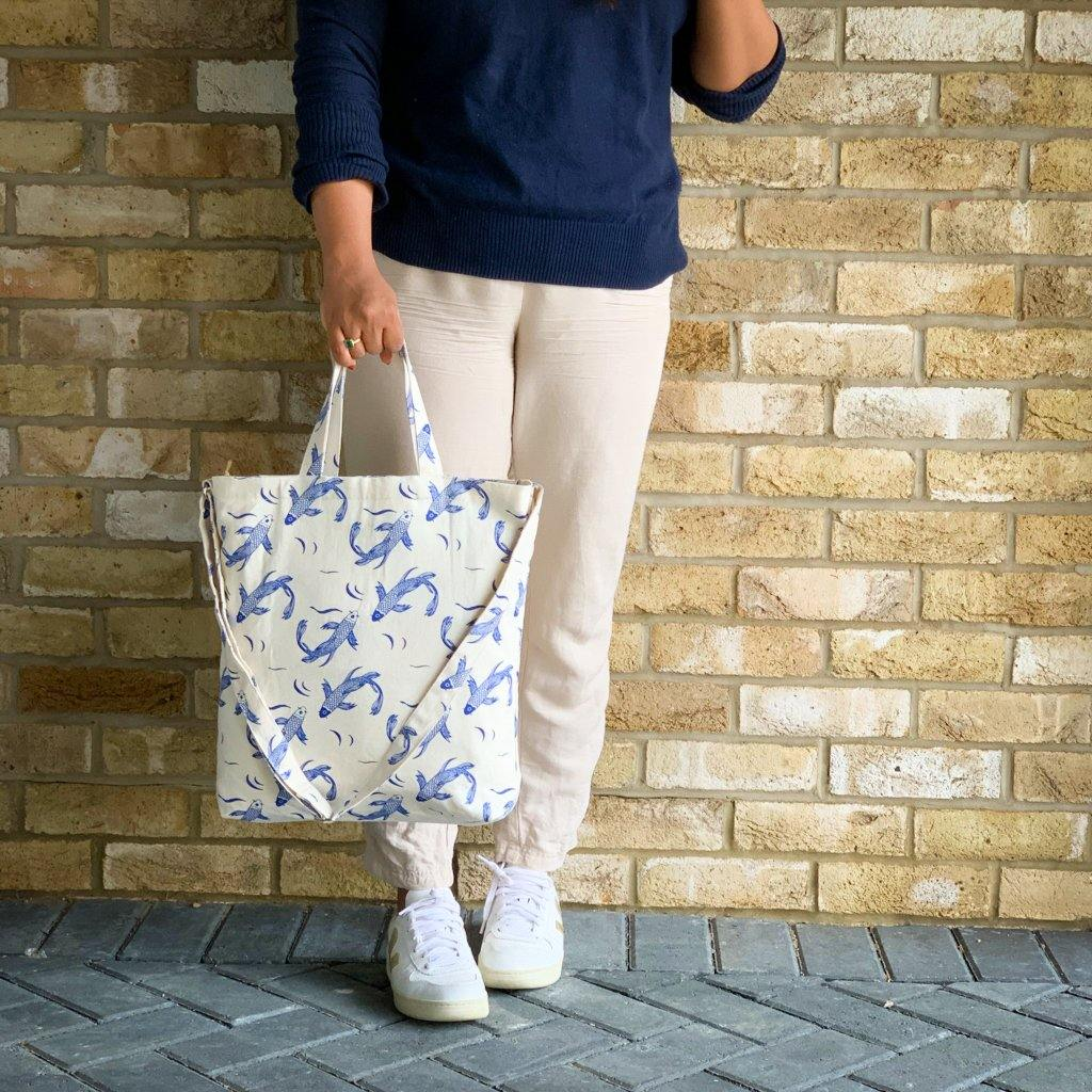 Sakana Tote Bag in Blue - Tikauo