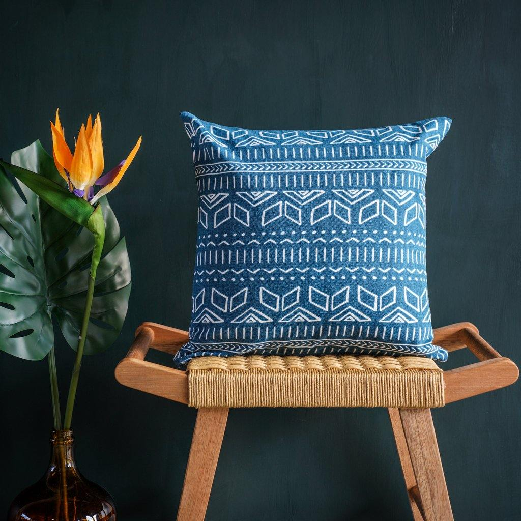 Iman Cushion Cover in Blue - Tikauo