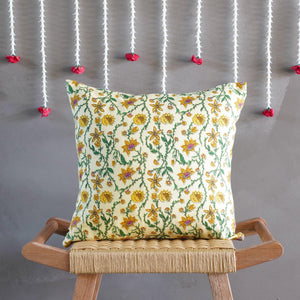 Bahar Floral Yellow Cushion Cover