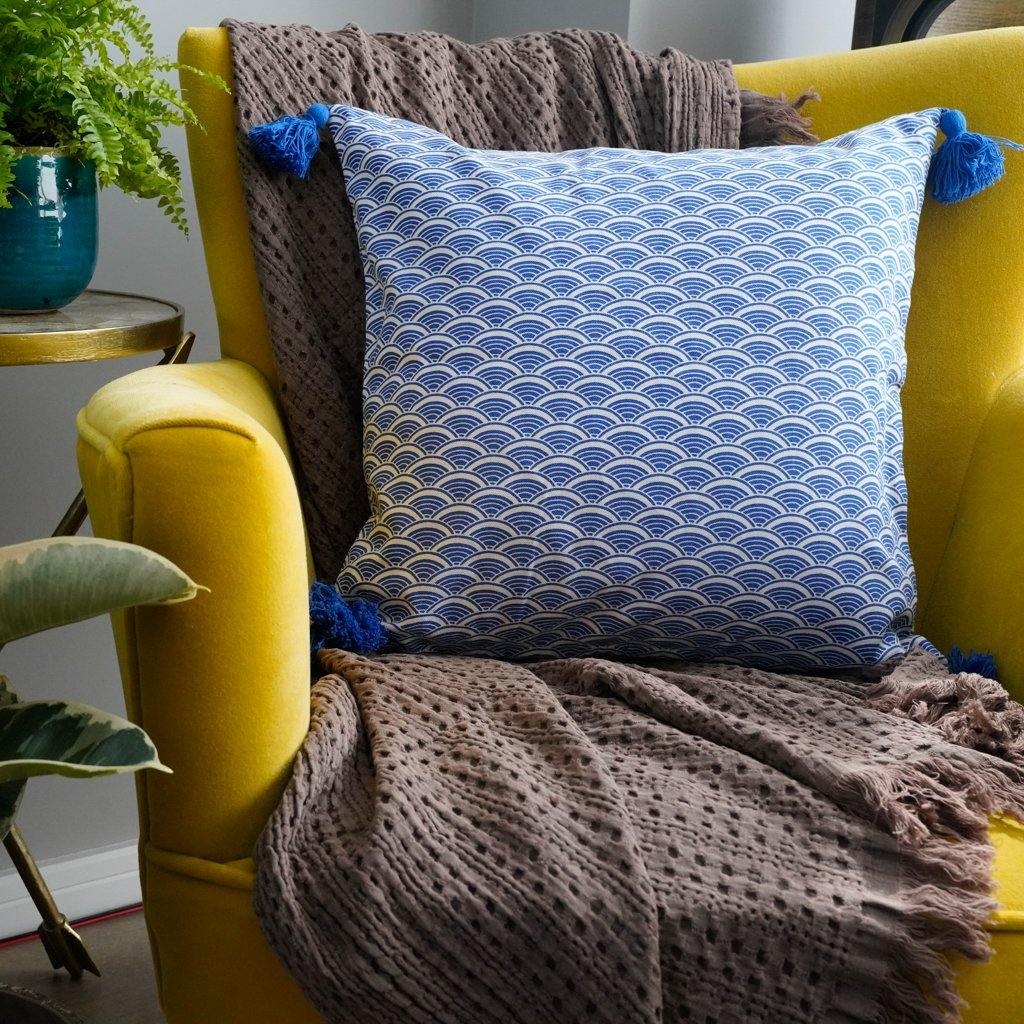 Ikigai Cushion Cover in Blue - Tikauo