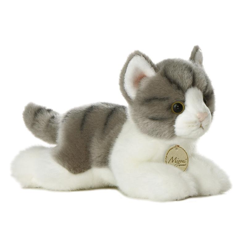 "AURORA 8"" MIYONI GREY TABBY CAT PLUSH KITTEN SOFT PLUSH TOY TEDDY"