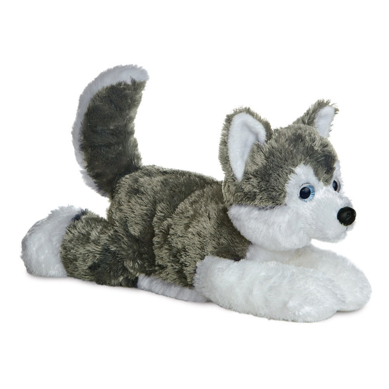 "AURORA FLOPSIE 12"" PLUSH SHADOW HUSKY DOG 31453 CUDDLY SOFT TOY"