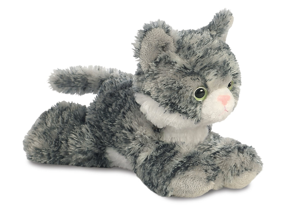 "NEW AURORA PLUSH 8"" LILY SILVER GREY TABBY CAT 31713 SOFT TOY TEDDY"