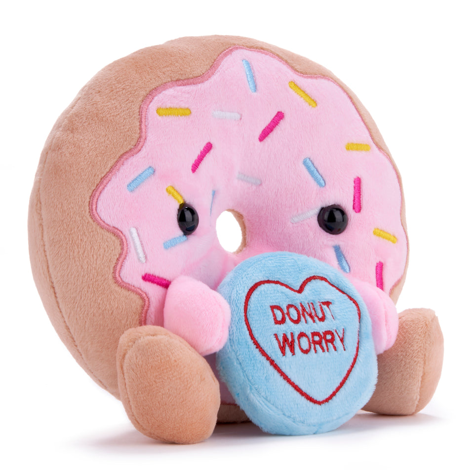 LOVE HEARTS 18CM DONUT WORRY PLUSH SOFT CUDDLY TOY