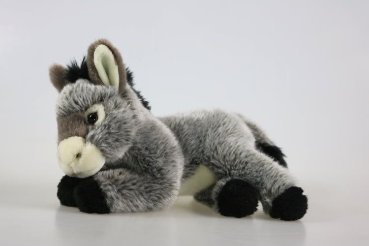 PLUSH LYING DONKEY D92324R SOFT CUDDLY TOY 25cm TEDDY