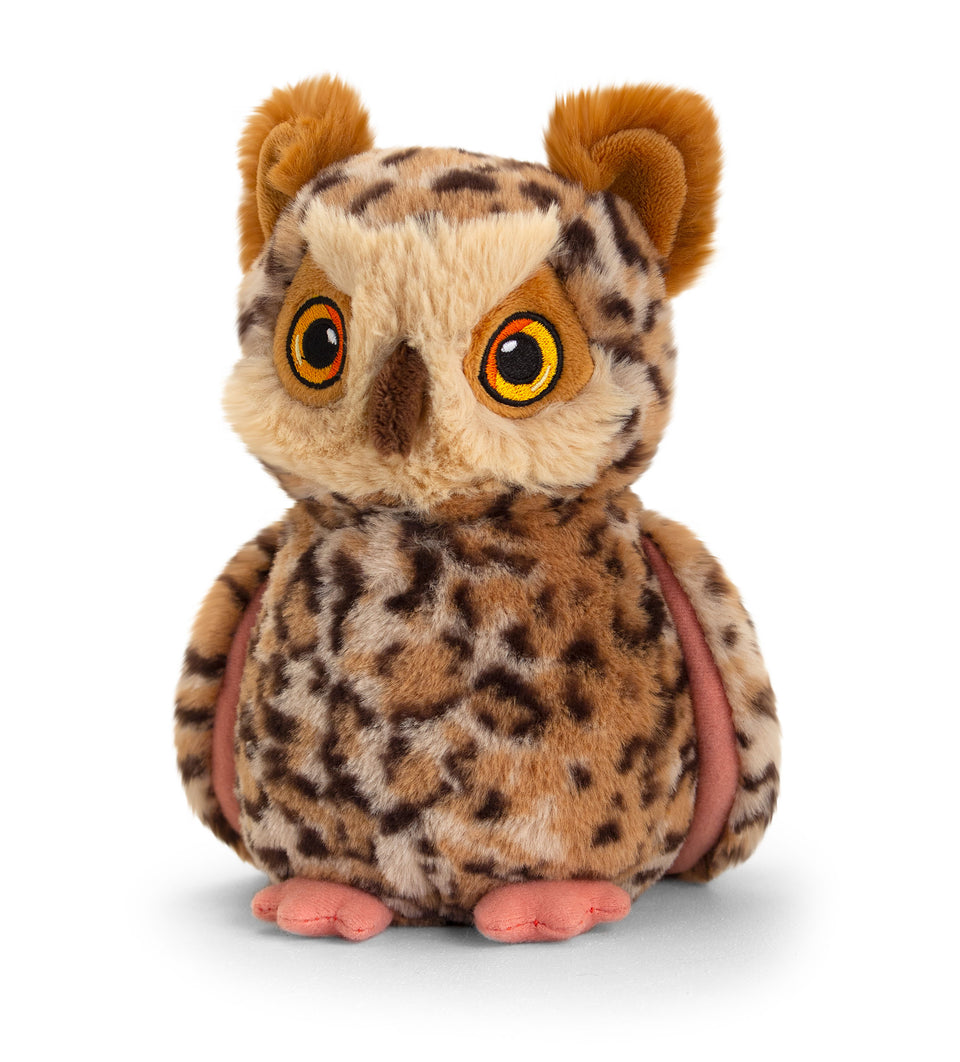 KEELECO OWL 19CM SOFT RECYCLED PLUSH CUDDLY QUALITY TOY