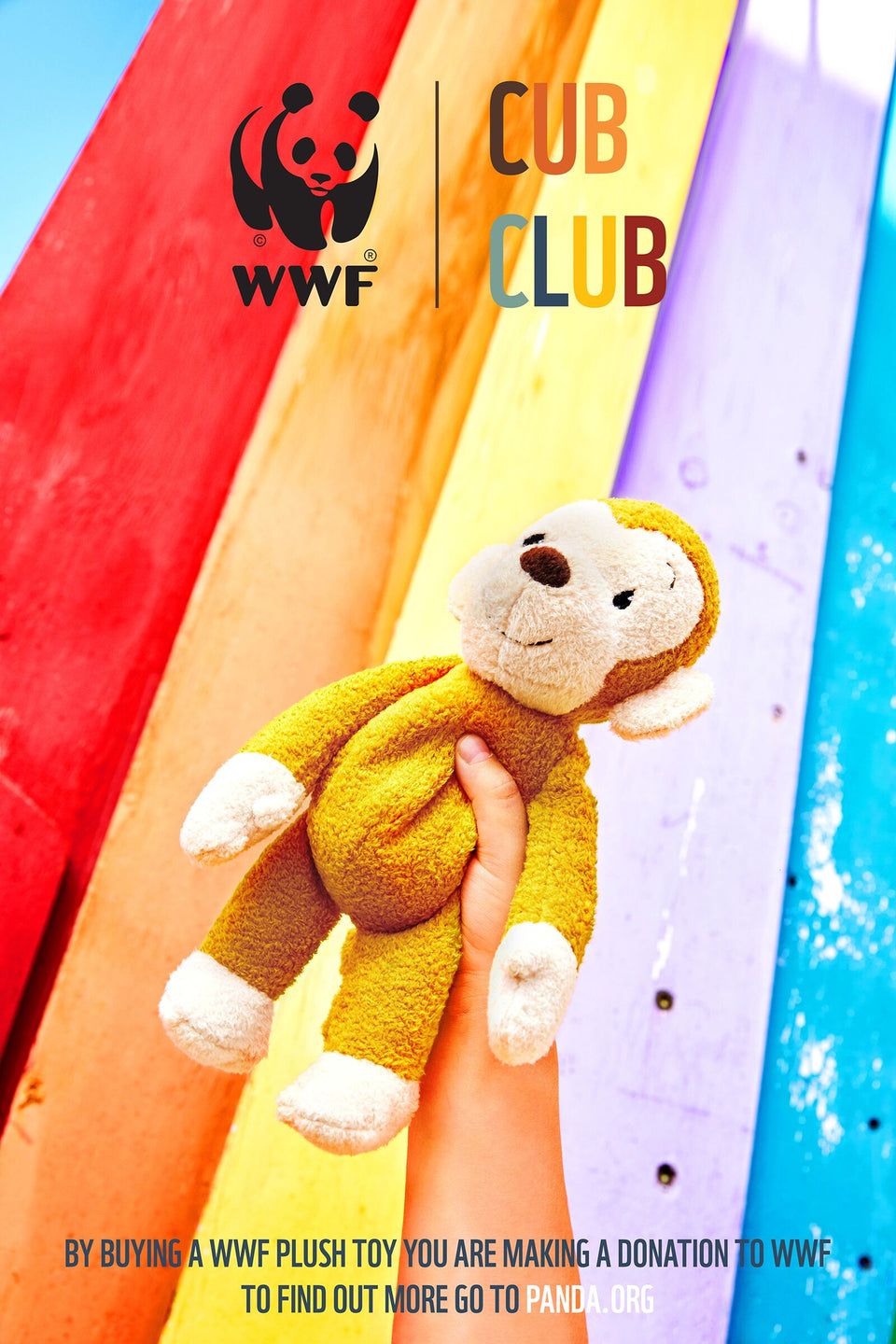 WWF CUB CLUB MAGO THE MONKEY YELLOW 29CM PLUSH SOFT TOY TEDDY
