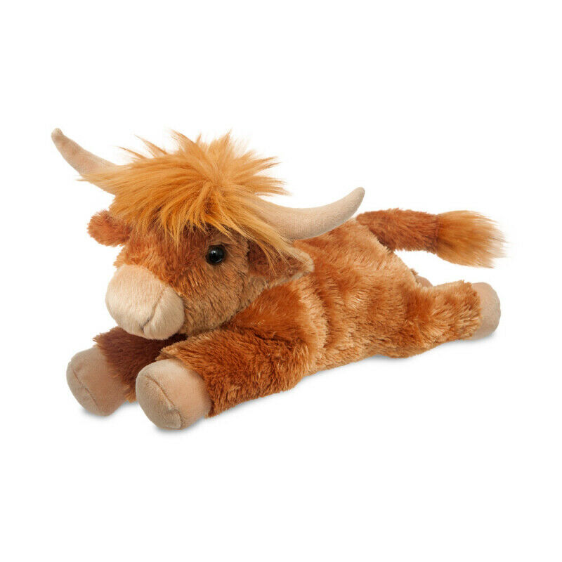 "AURORA PLUSH HIGHLAND COW 12"" FLOPSIE 60932 CUDDLY SOFT TOY TEDDY"