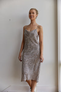 Stevie Leopard Slip Dress in Washable Silk