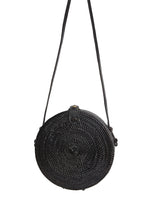 Load image into Gallery viewer, Black Circle Rattan Straw Bag