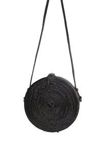 Black Circle Rattan Straw Bag