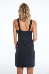 Button-Front Fitted Overall Dress