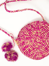 Load image into Gallery viewer, Pink Raffia Straw Crossbody