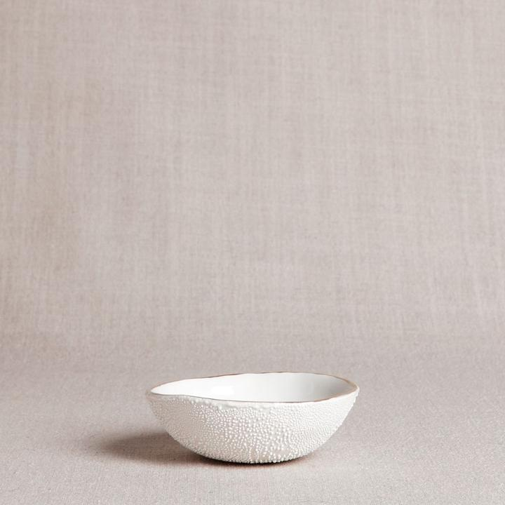 Textured Bowl with Gold Rim - The Red Lark Shop