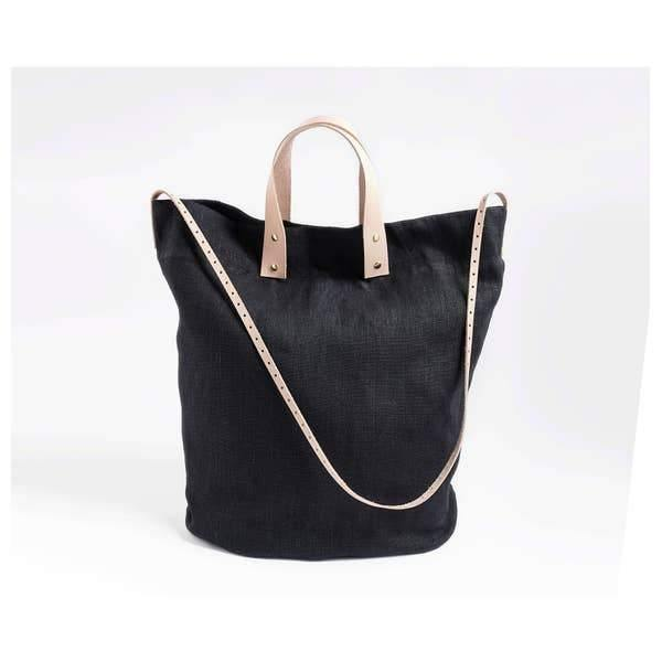 Black Linen Tote with Leather Accents
