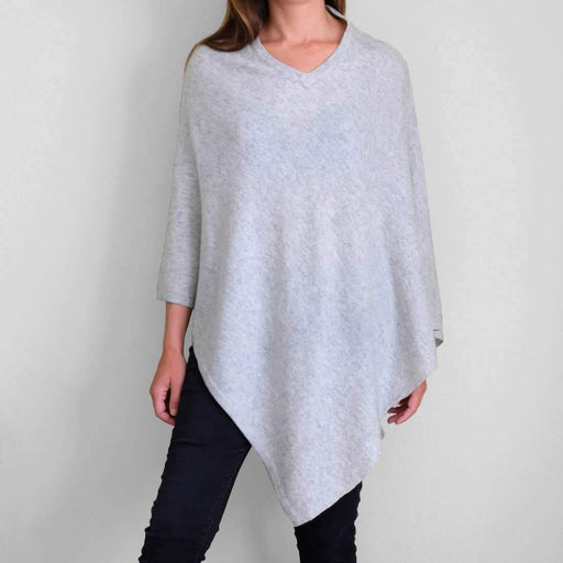Classic Poncho in Heather Grey - The Red Lark Shop