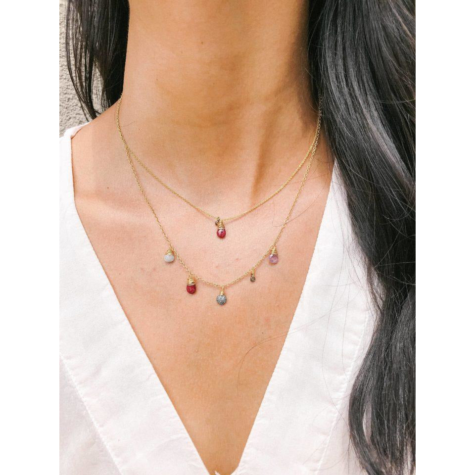 Ruby & Mini Diamond Necklace - The Red Lark Shop