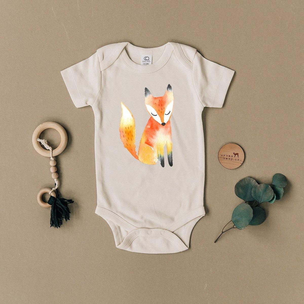 Fox Organic Cotton Body Suit - The Red Lark Shop