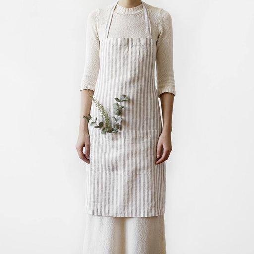 Natural White Striped Apron - The Red Lark Shop