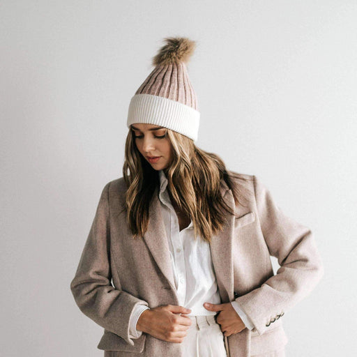 Erin Beanie - Blush and White - The Red Lark Shop